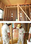 家造りの流れ 13.構造検査/耐震補強・構造補強部分チェック(最低週1回の定例会時にチェック)